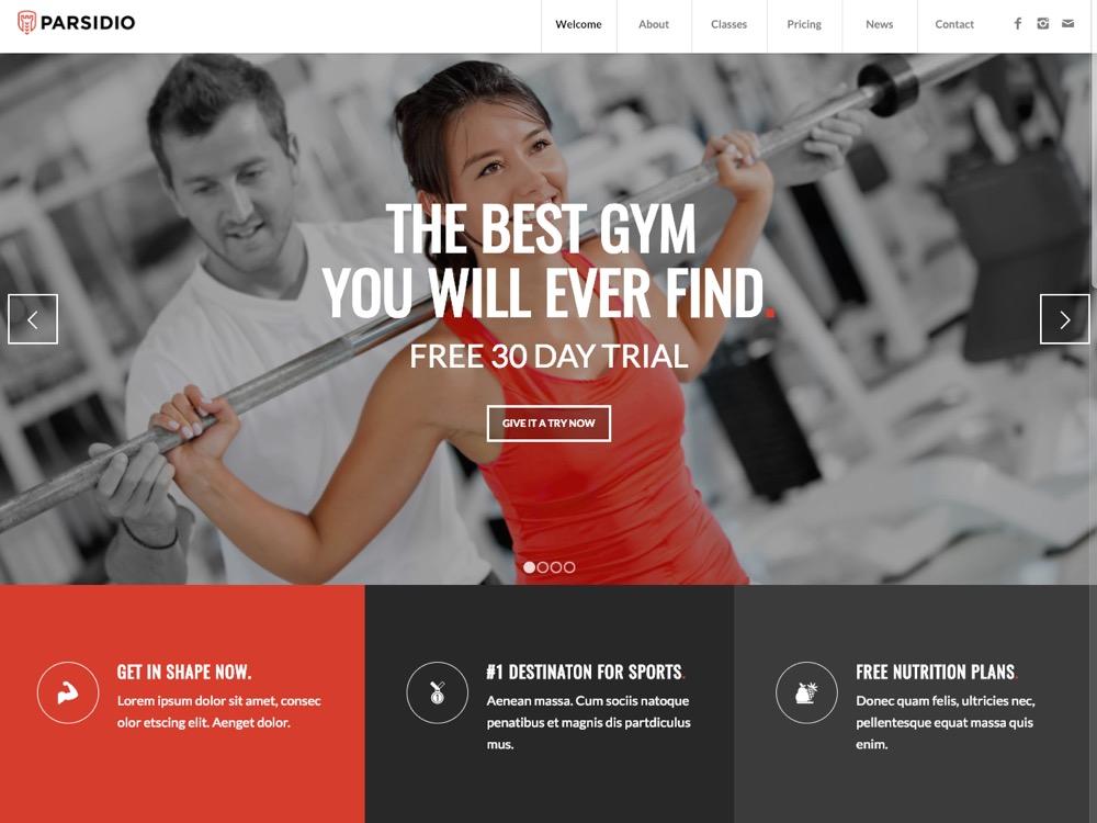 WordPress Theme for Gym Website